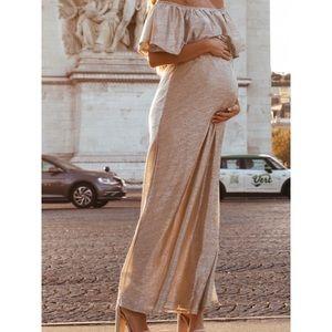 PINKBLUSH Gold Maternity Maxi Dress